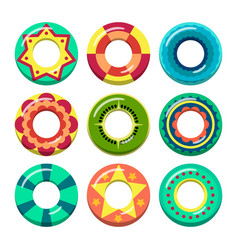 Lifeguard swimming rings in different colors vector
