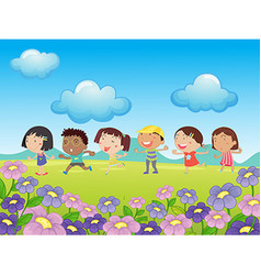 Many kids walking in the park vector
