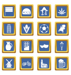 netherlands icons set blue vector image
