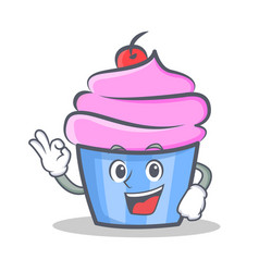 Okay cupcake character cartoon style vector