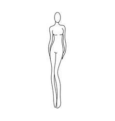 outline girl model template for fashion women vector image vector image