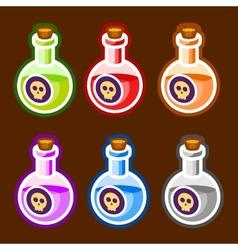 Poison cartoon bottles liquids colors elemetns vector