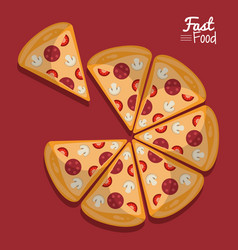 Poster fast food in purple background with pizza vector