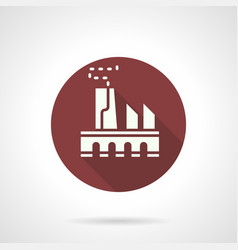 Power plant burgundy round icon vector