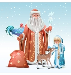 Russian father frost snow maiden blue rooster vector