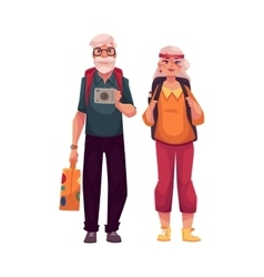 Senior old couple travelling with backpacks vector