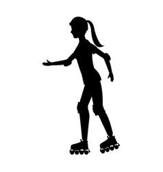 Silhouette girl roller skate helmet walking vector