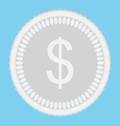 Silver coin money icon flat isolated vector