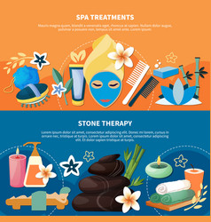 spa treatments 2 flat banners vector image vector image