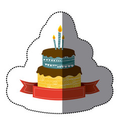 Sticker colorful picture birthday cake two floors vector