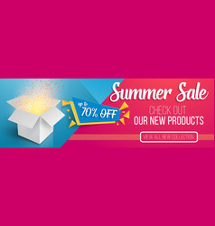 Summer sale banner template open box vector