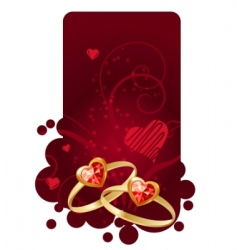 two rings on red frame vector image