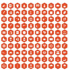 100 coffee cup icons hexagon orange vector