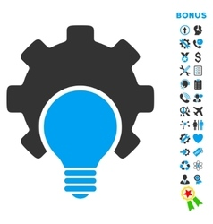 Bulb configuration flat icon with bonus vector