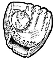 doodle baseball glove earth vector image