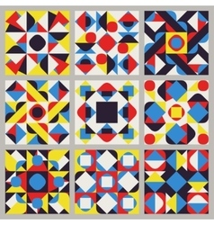 Set of nine seamless blue red yellow white vector