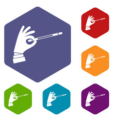 Magician hand with a magic wand icons set vector