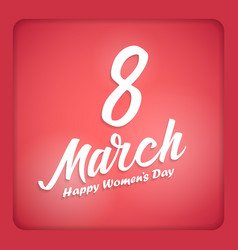 Women day lettering on red background 8 march vector