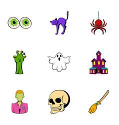 Pumpkin icons set cartoon style vector
