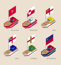Set of isometric ships with flags vector