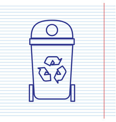 Trashcan sign navy line icon vector