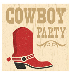 Cowboy party card vector