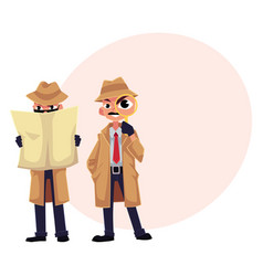 Detective character with magnifying glass vector