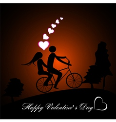 A boy and a girl riding tandem bicycle in sun set vector