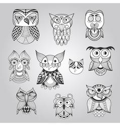 Set of 10 Doodle Owls vector image