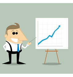 Happy cartoon businessman with presentation graph vector