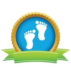 Gold foot steps logo vector