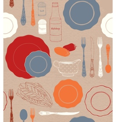 Different tableware and food ingredients vector image
