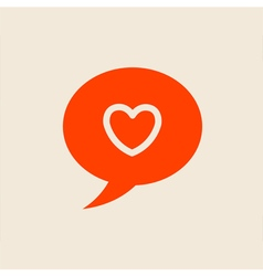 Heart in speech bubble icon template vector
