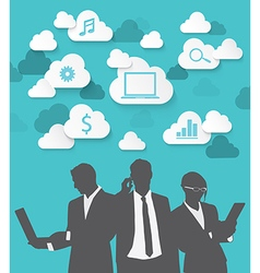 Silhouette people of cloud concept vector