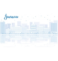 Outline juneau skyline with blue buildings vector