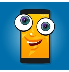 Smart phone mobile big eyes character cartoon vector