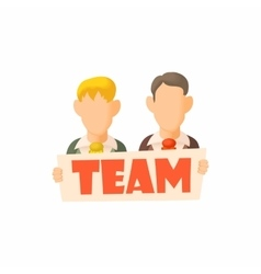 Men holding sign team icon cartoon style vector
