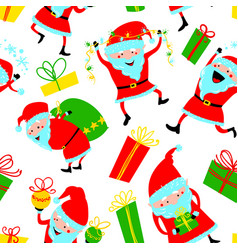 Background with cute santa claus and gift boxes vector