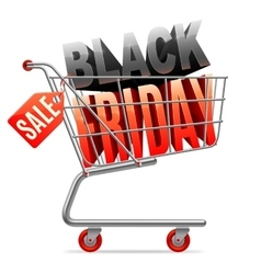 Black Friday Sale Shopping Cart vector image vector image
