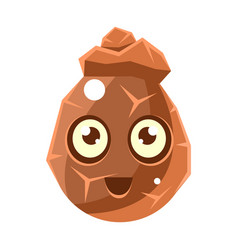 Brown cracked rock element egg-shaped cute vector
