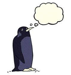 cartoon penguin with thought bubble vector image vector image