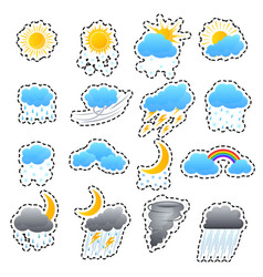 cartoon weather color icons sticker set vector image vector image