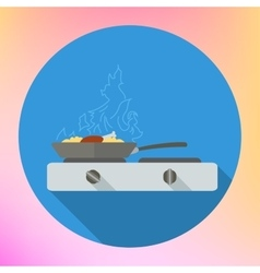 Chicken leg frying pan stove vector