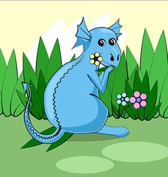Cute dragon sitting on a green meadow with flowers vector image