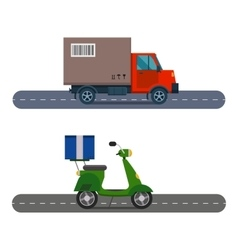 Delivery transport cargo truck and scooter vector
