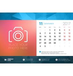 Desk calendar template for 2017 year november vector