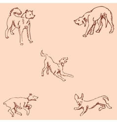 Dogs sketch pencil drawing by hand vintage vector