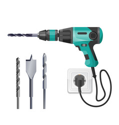 electric drilling machine cord plugged into socket vector image vector image