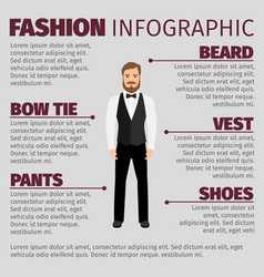Fashion infographic with bearded hipster man vector
