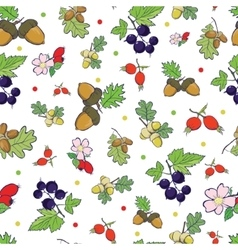 Forest berries nuts seamless pattern vector